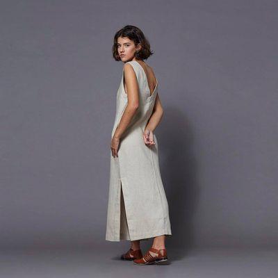 Vestido-Midi-com-Decote-V-Bege---G