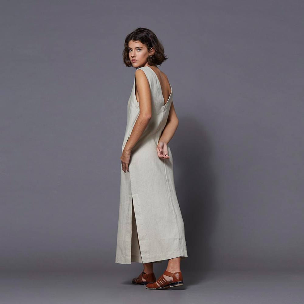 Vestido-Midi-com-Decote-V-Bege---M
