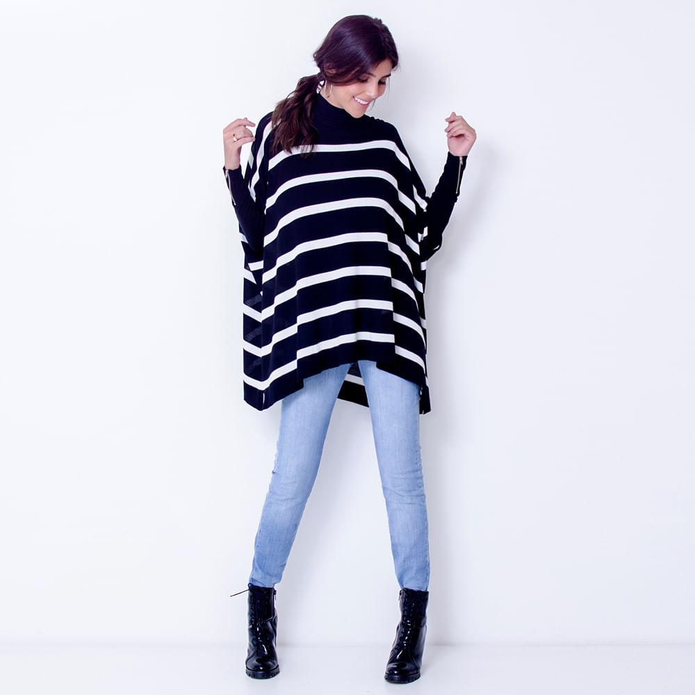 Blusa-Poncho-Tricot--Stripes-Tamanho-Unico