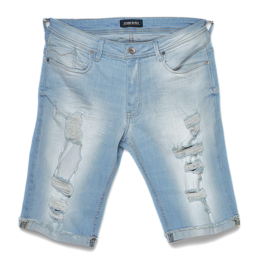 Bermuda Masculina Jeans Destroyed Com Puídos Convicto
