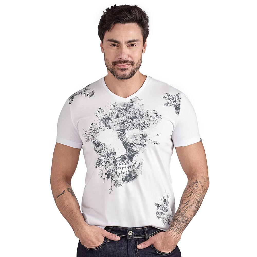 Camiseta-Caveira-Floral