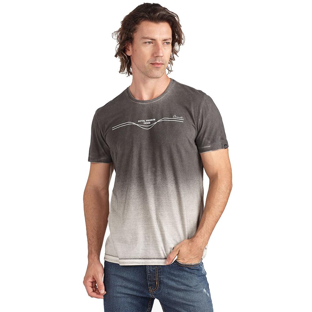 Camiseta Masculina Com Jato De Pigmento Degradê Estampa Royal Premium Denim Convicto