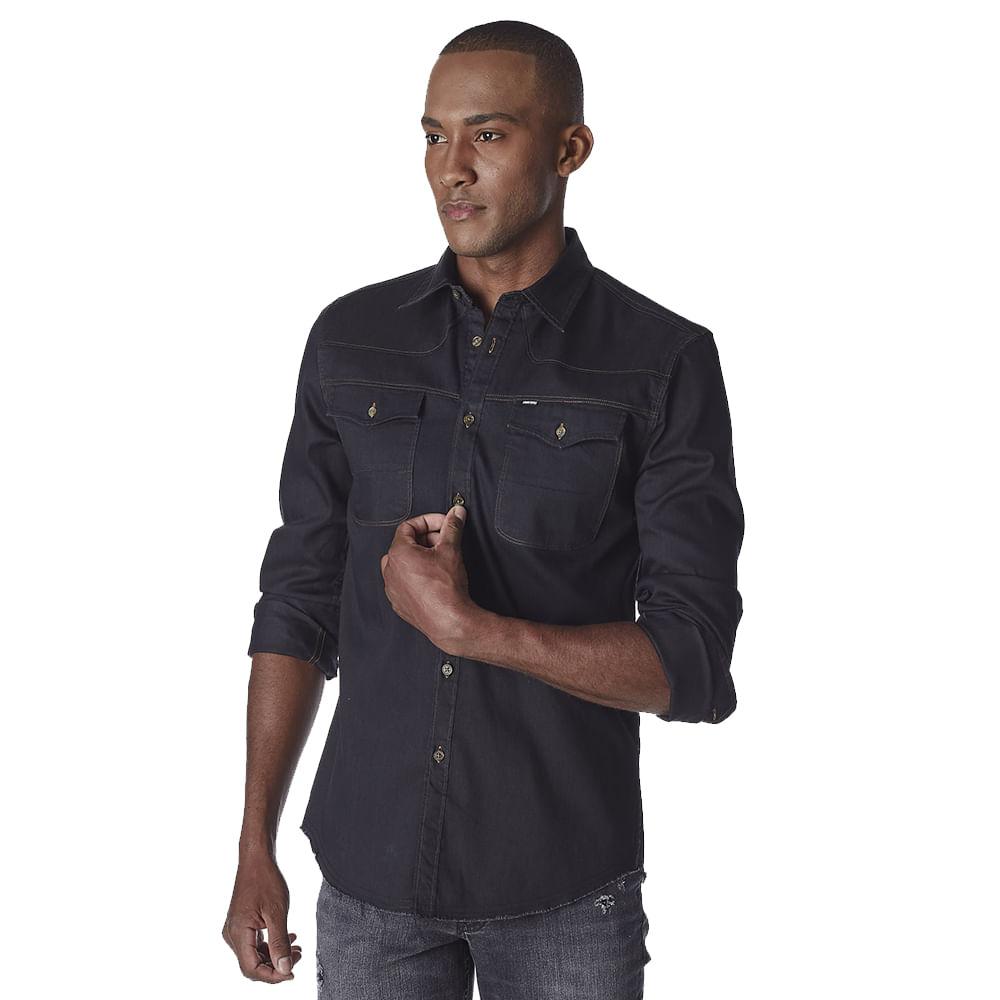 Camisa-Masculina-Convicto-Manga-Longa-Jeans-Black