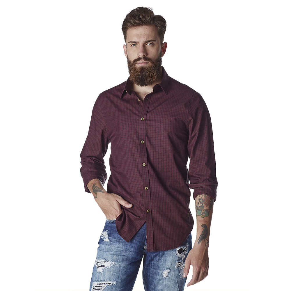 Camisa-Masculina-Convicto-Manga-Longa-Micro-Xadrez
