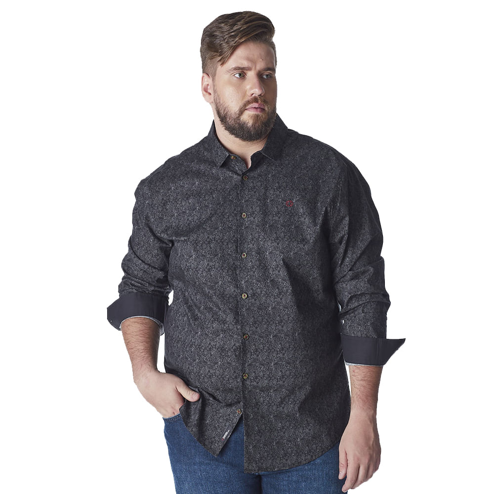 Camisa-Plus-Size-Masculina-Convicto-Manga-Longa-estampada-e-Bordada