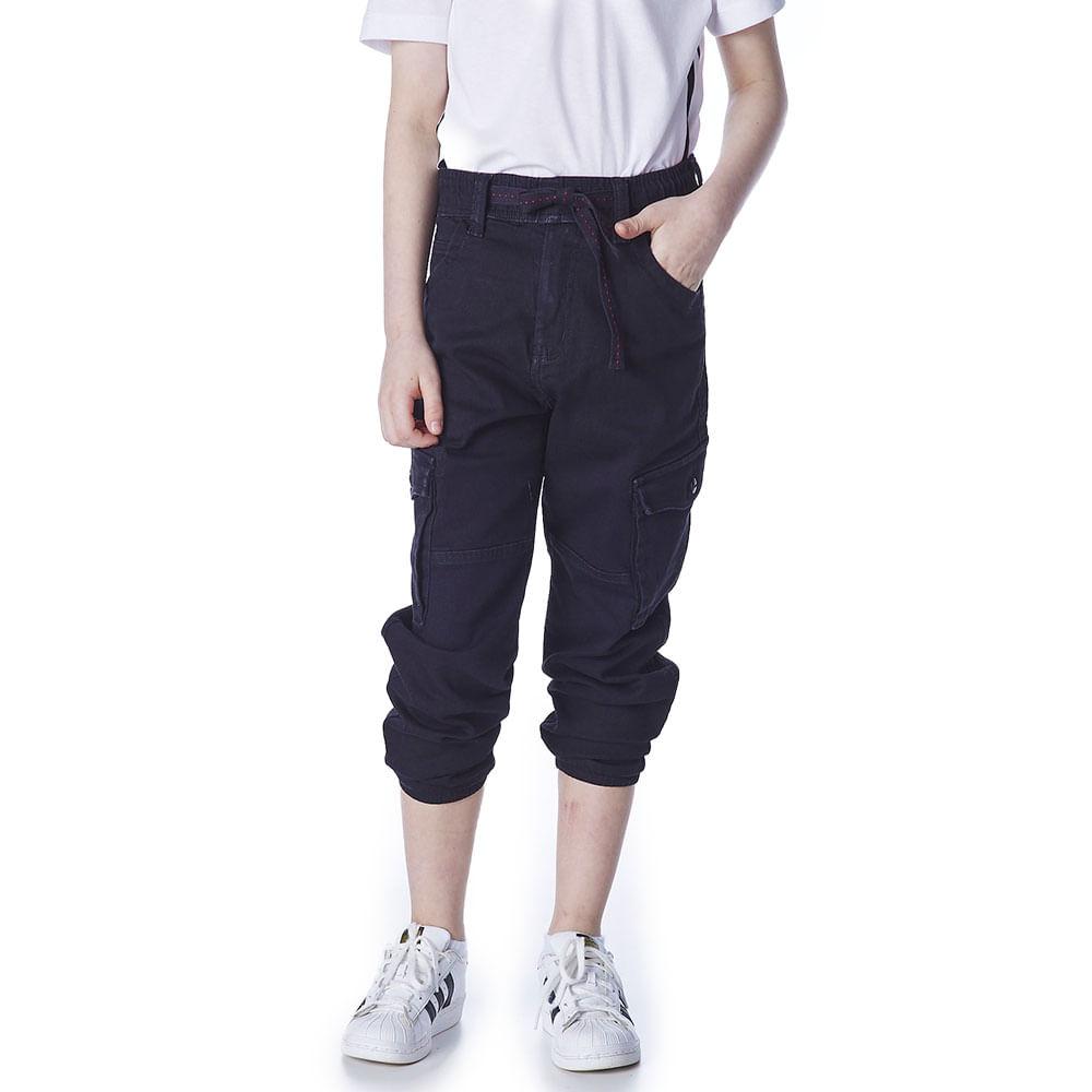 Calca-Jeans-Infantil-Masculina-Convicto-Regular-Skinny-Modelo-Jogger-Preta