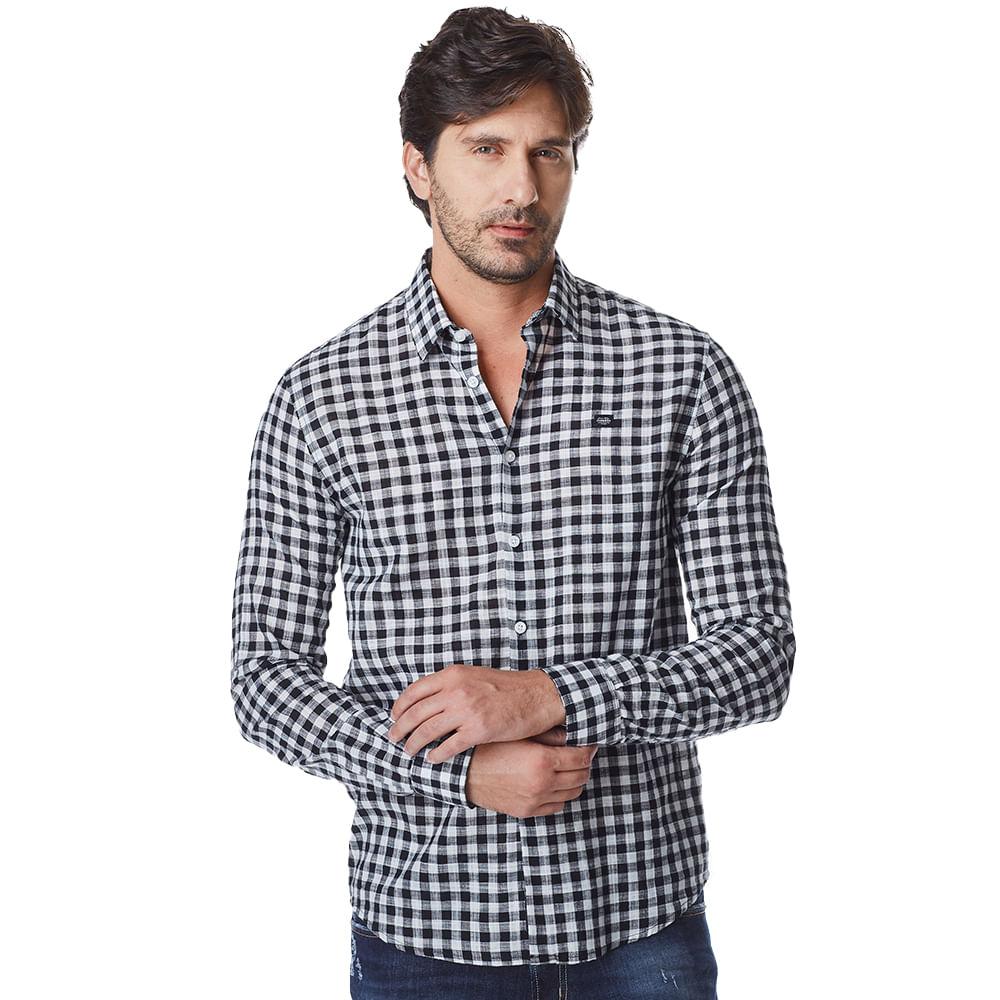 Camisa-Manga-Longa-Masculina-Convicto-Xadrez